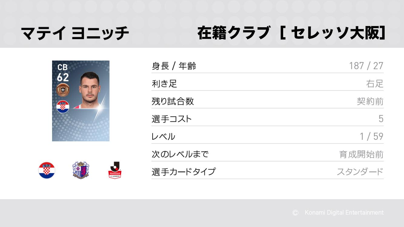 セレッソ大阪のマテイ ヨニッチ選手