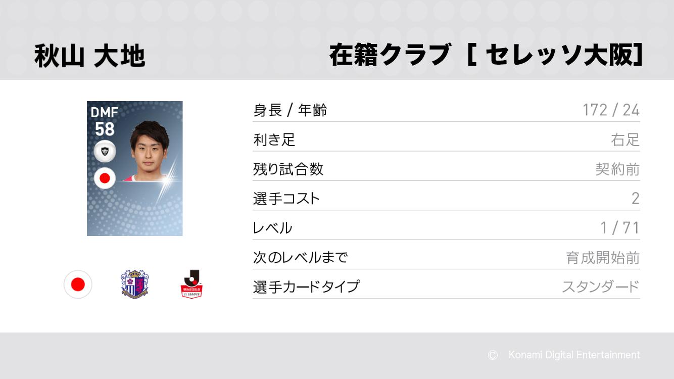 セレッソ大阪の秋山 大地選手