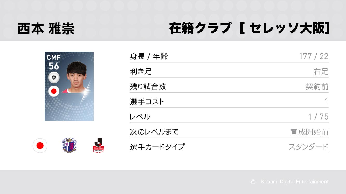 セレッソ大阪の西本 雅崇選手