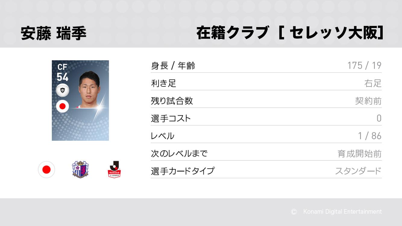 セレッソ大阪の安藤 瑞季選手