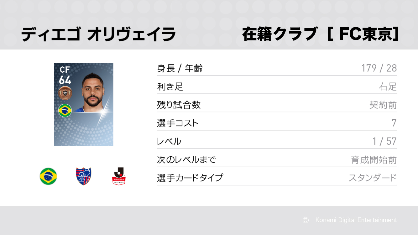 FC東京のディエゴ オリベイラ選手