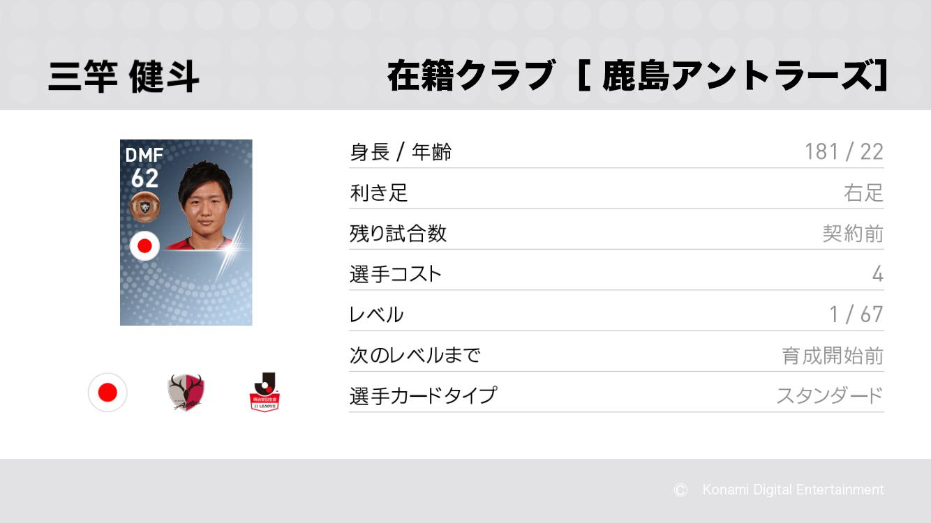 鹿島アントラーズの三竿 健斗選手